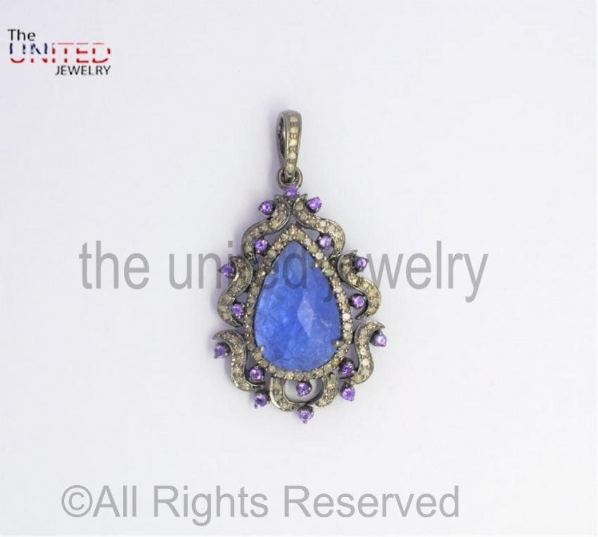 Pave Tanzanite Amethyst Diamond 925 Sterling Silver Pendant - Pave Diamond Jewelry - Tanzanite Diamond Pendant