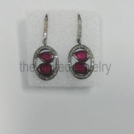 Diamond Ruby Sterling Silver 925 Earrings - Pave Diamond Earrings - Dangler Earrings - Geometrical Earrings - Pave Diamond Jewelry