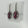 Diamond Ruby Sterling Silver 925 Earrings - Pave Diamond Earrings - Dangler Earrings - Geometrical Earrings - Pave Diamond Jewelry