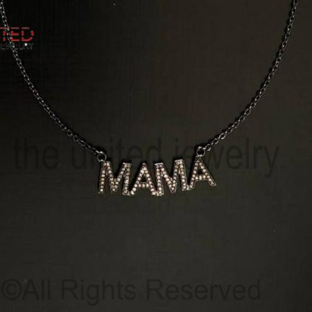 925 Sterling Silver - Pave Diamond Mom Mama Pendant Necklace - Pave Diamond Jewelry - Pave Diamond Chain Necklace