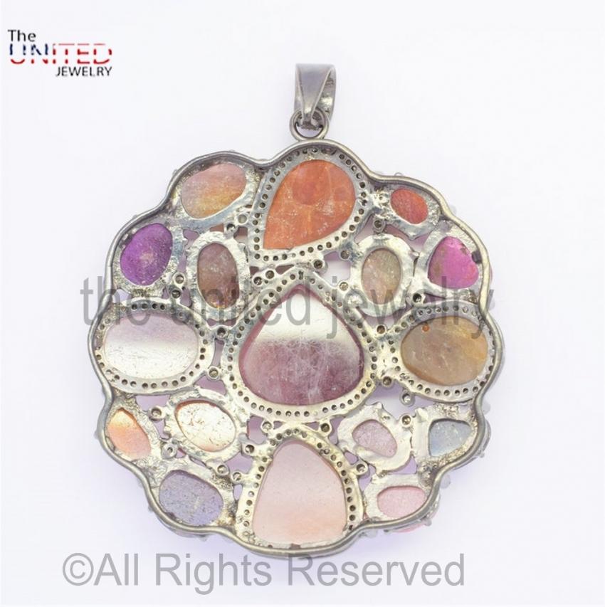 925 Sterling Silver Victorian Pave Diamond Multi-Sapphire Pendant - Multi-Sapphire Pendant - Pave Diamond Pendant