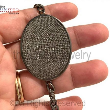 925 Sterling Silver Black Pave Diamond Oval Bar Bracelet- Pave Diamond Jewelry - Diamond Jewellery - Diamond Bracelet with Linked Chain