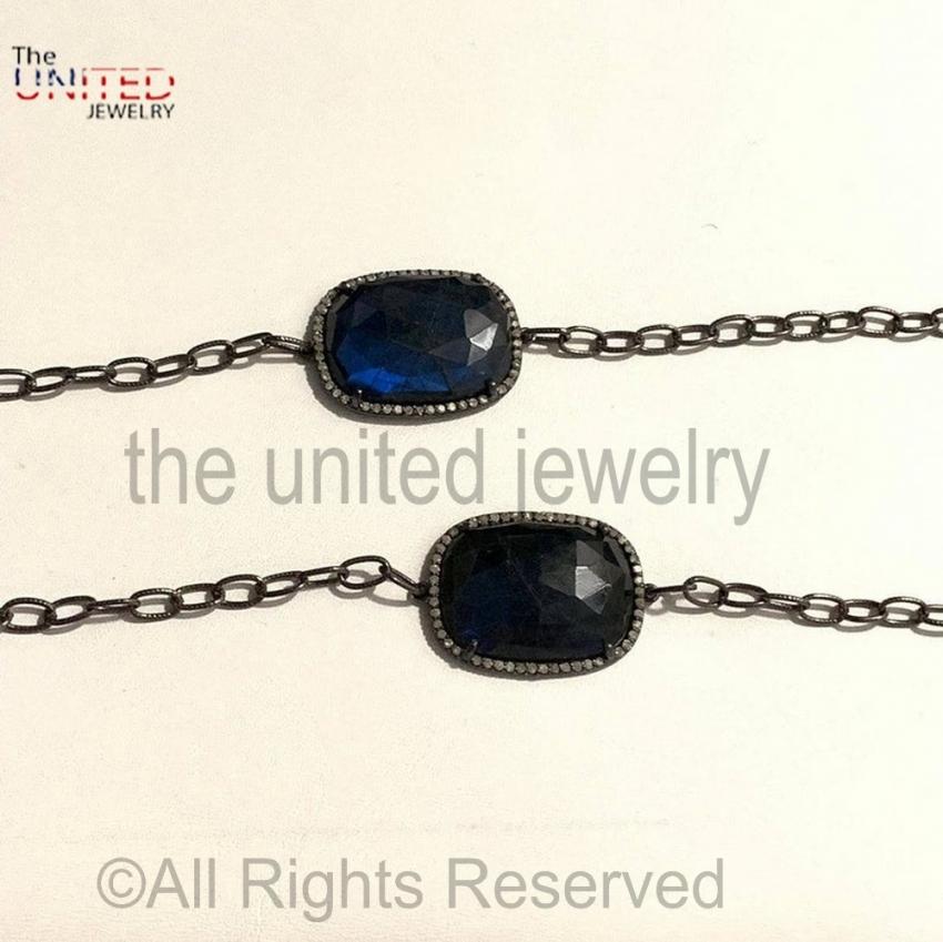 925 Sterling Silver Black Pave Diamond Labradorite Bracelet- Pave Diamond Jewelry - Diamond Jewelry
