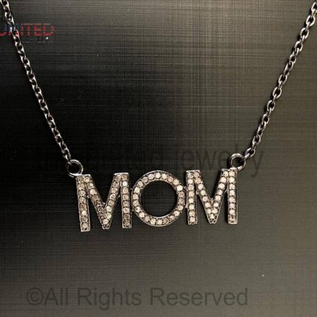 925 Sterling Silver - Pave Diamond Mom Pendant Necklace - Pave Diamond Jewelry - Pave Diamond Chain Necklace