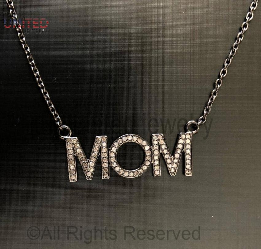 925 Sterling Silver - Pave Diamond Mom Pendant Necklace - Pave Diamond Jewelry - Pave Diamond Chain Necklace