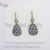 Diamond Tanzanite - Pear Drop Sterling Silver 925 - Pave Diamond Earrings - Dangler Earrings