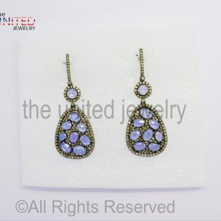Diamond Tanzanite - Pear Drop Sterling Silver 925 - Pave Diamond Earrings - Dangler Earrings