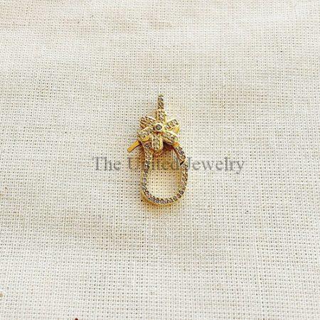 Pave Diamond Sterling Silver Clasp Lock Jewelry