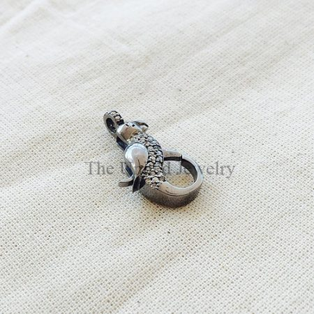 Diamond Sterling Silver Parrot shape Lobster Clasp Lock Jewelry