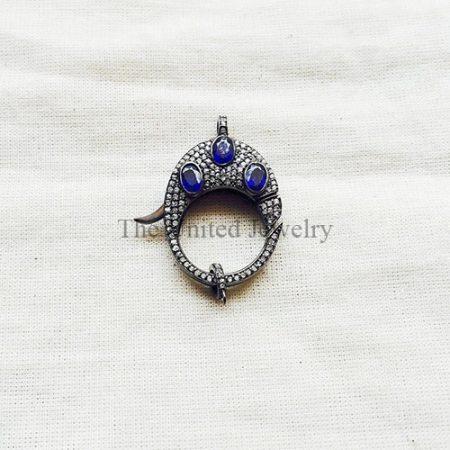 Sapphire,Diamond & Oxidized Sterling Silver Lobster Lock