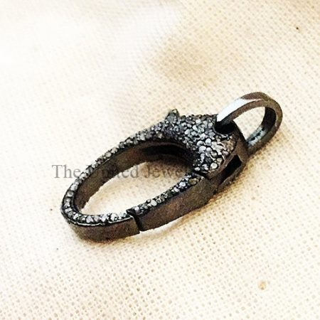 Pave Diamond Sterling Silver Lobster Clasp Jewelry