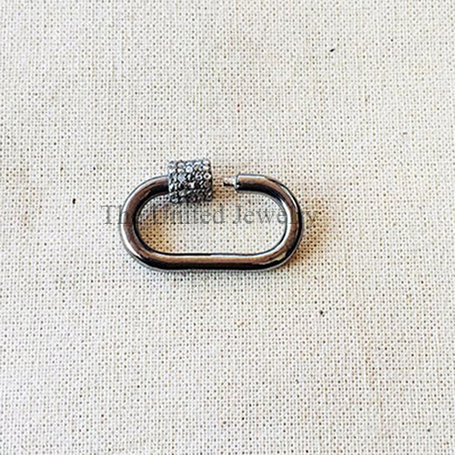 Pave Diamond Oxidized Sterling Silver Carabiner  Clasp Lock Jewelry