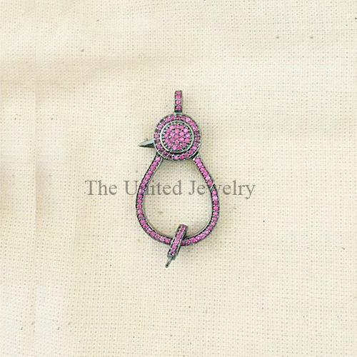Ruby Oxidised Sterling Silver Lobster Clasp Lock Jewelry
