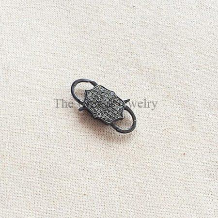 Pave Diamond & Oxidized Sterling Silver Padlock Clasp Jewelry