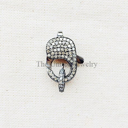 Pave Diamond Oxidized Sterling Silver Lobster Clasp Lock Jewelry