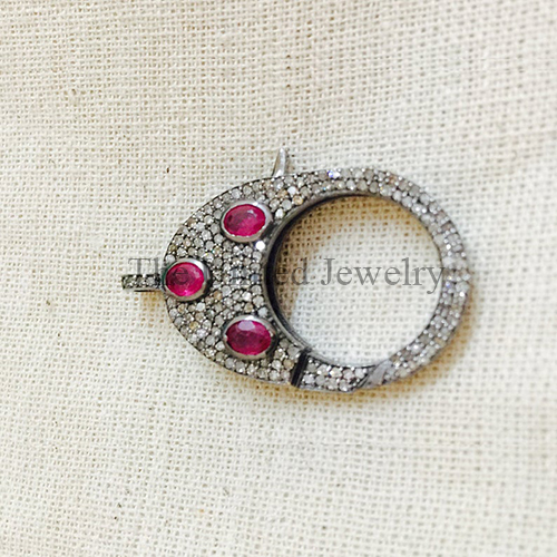 Ruby & Diamond Oxidised Sterling Silver Lobster Clasp Lock Jewelry