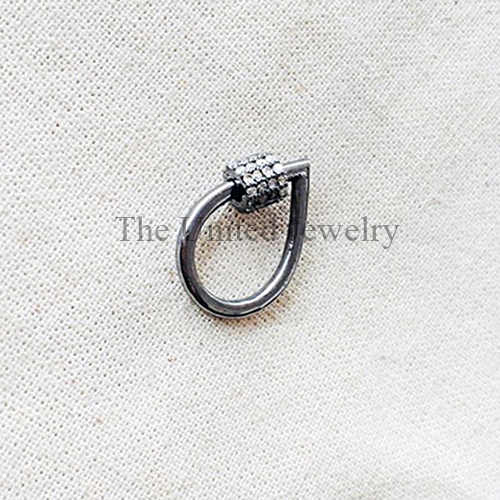 Pave Diamond Pear Shape Screw Carabiner Lock Jewelry