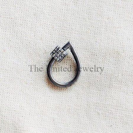 Pave Diamond Pear Shape Screw Carabiner Lock Jewelry