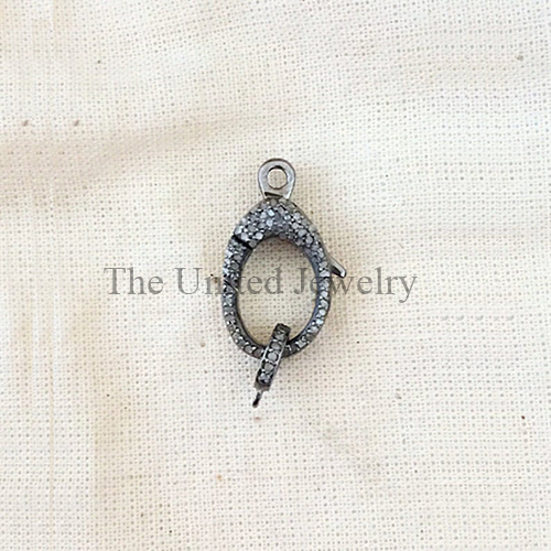 Pave Diamond Oxidised Sterling Silver Lobster Clasp Lock Jewelry