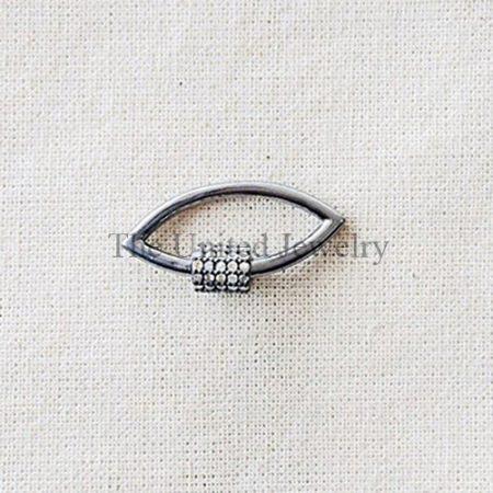 Pave Diamond Marquise Shape Screw Carabiner Lock Jewelry