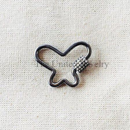 Pave Diamond Butterfly Shape Screw Carabiner Lock Jewelry