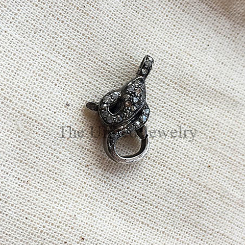Diamond Oxidised Sterling Silver Lobster Clasp Lock Jewelry