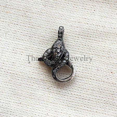 Diamond Oxidised Sterling Silver Lobster Clasp Lock Jewelry