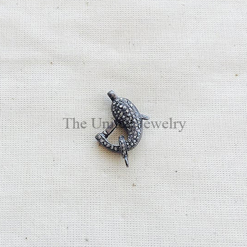 Pave Diamond Oxidized Sterling Silver Lobster Lock Jewelry