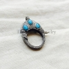 Turquoise,Diamond & Oxidized Sterling Silver Lobster Lock