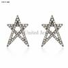 Star Stud Pave Diamond Earrings 925 Sterling Silver 14K Gold Fine Jewelry