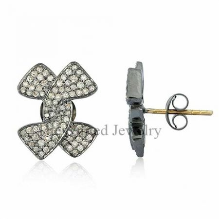 14K Gold Pave Diamond Designer Stud Earrings 925 Sterling Silver Jewelry