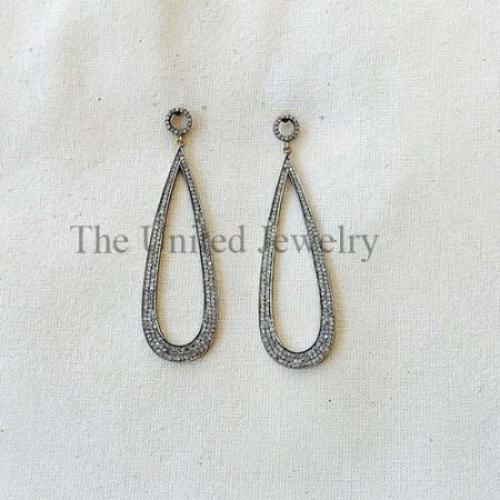 Natural Pave Diamond Designer Dangle Earring 925 Sterling Silver Fine Jewelry