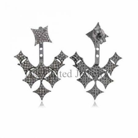 Natural Pave Diamond Ear Jacket Earrings 925 Sterling Silver Fine Jewelry