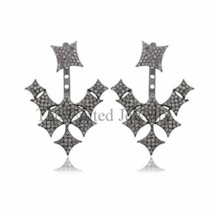 Natural Pave Diamond Ear Jacket Earrings 925 Sterling Silver Fine Jewelry