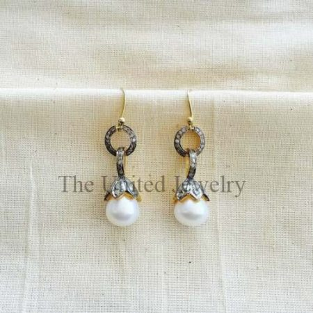 Earring Natural Pave Diamond Pearl gemstone 925 Silver Fine Gift Her Jewelry