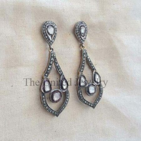 Earring Natural Pave Diamond 925 Sterling Silver Fine Gift Her jewelry
