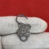 Natural Pave Diamond Clover Shape Handmade Sterling Silver Padlock Jewelry, Diamond Padlock Jewelry, Silver Padlock Jewelry