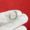 9k gold pave diamond charm Enhancer, yellow Gold Enhancer, Charm Enhancer Lock paperclip necklace, 9k gold Charm Holder, charm Enhancer